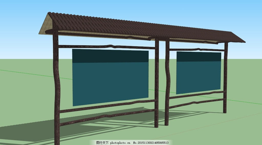 木质标识牌 木纹 乡村标识 宣传栏 模型 su 黑板 设计 3d设计 展示
