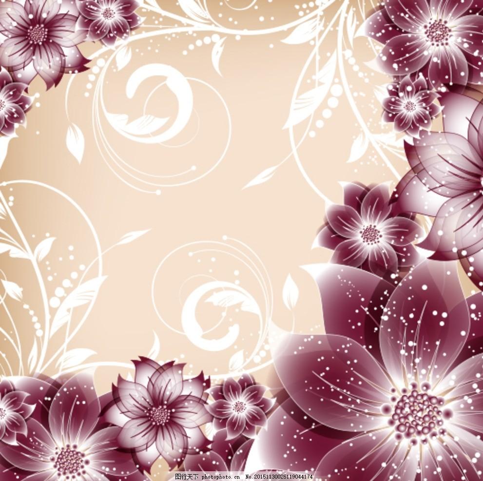 绚丽花卉边框矢量素材 花朵 鲜花 植物 花藤 花蔓 藤蔓 光晕