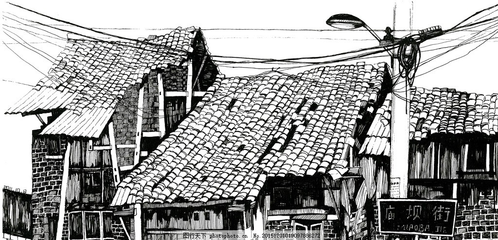 古镇写生 黑白 素描 速写 构图 留白 韶华倾负 设计 文化艺术 绘画