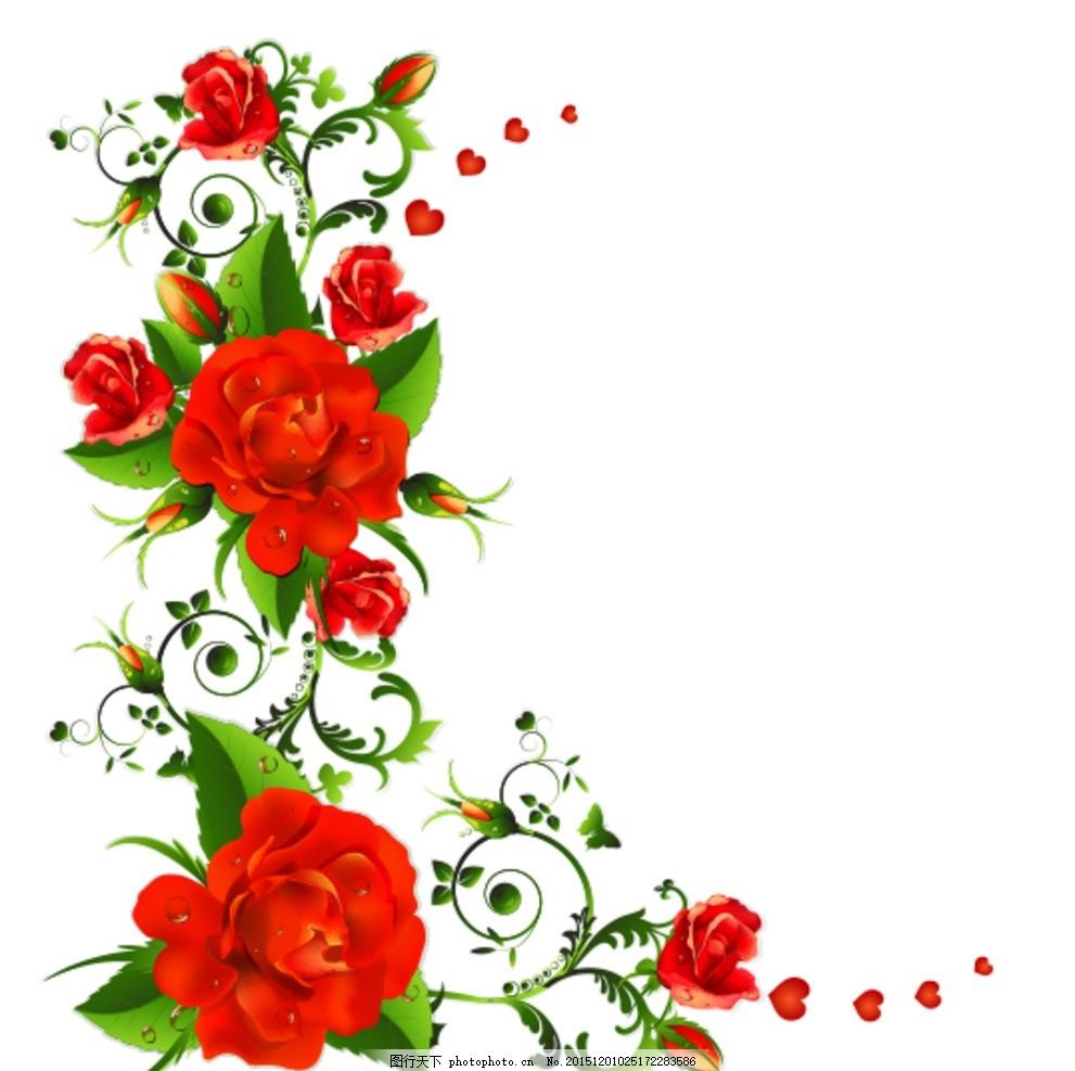 玫瑰花矢量素材 花卉 花朵 鲜花 植物 花藤 花蔓 藤蔓 情人节