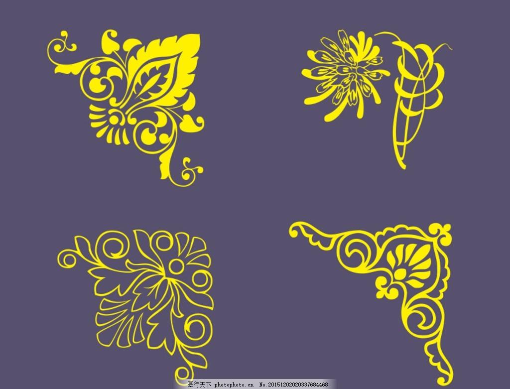 边角图案 矢量图 欧式图案 花纹花边 背景底纹 条纹线条 花纹素材