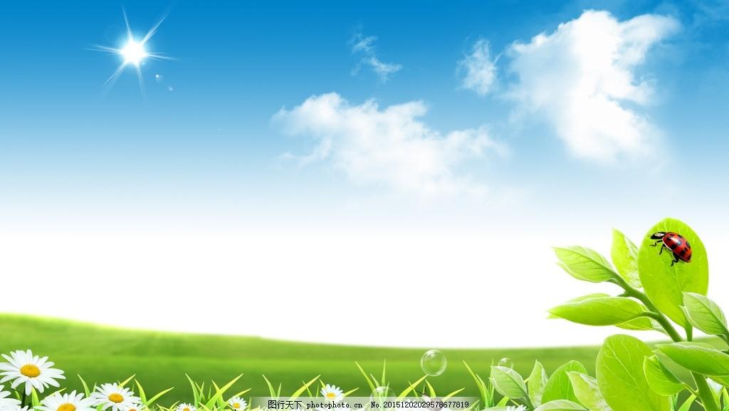 蓝天白云 绿草 小花 鲜花 七星飘虫 太阳 背景 草原背景 高清