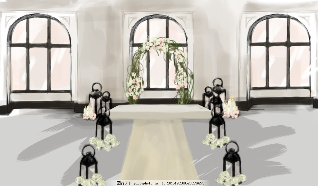 手绘主舞台 手绘 婚礼 欧式 罗马 主舞台 花拱门 设计 环境设计
