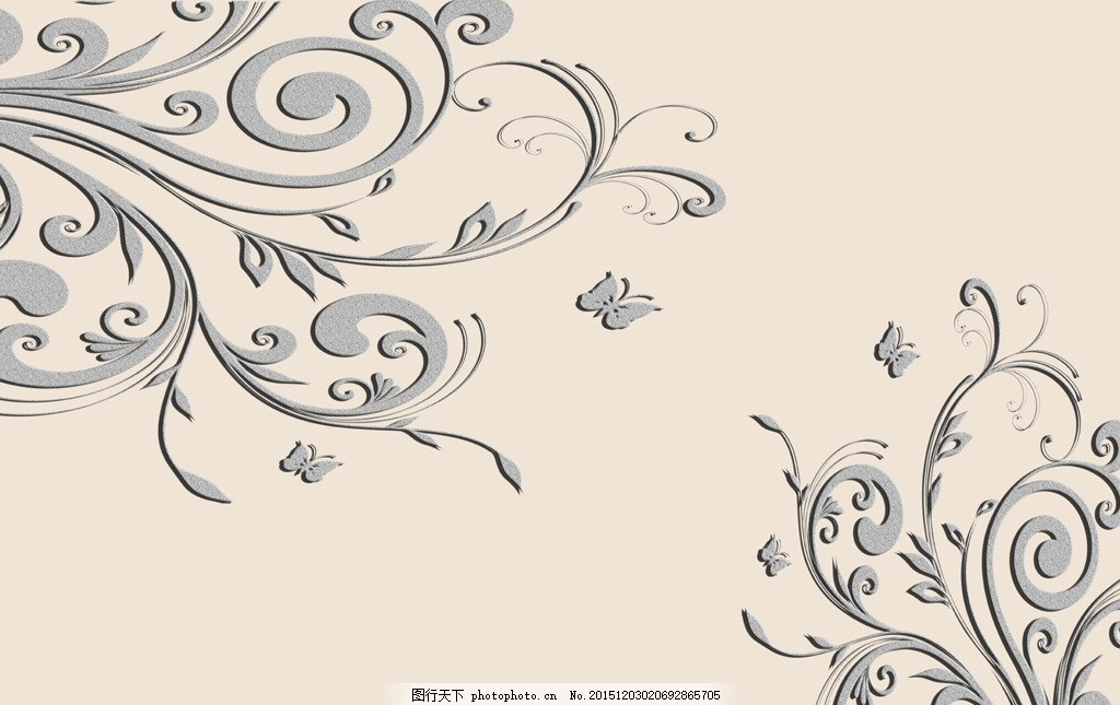墙绘 手绘花朵 3d 立体 蝴蝶 抽象 花纹 花藤 欧式 设计 底纹边框