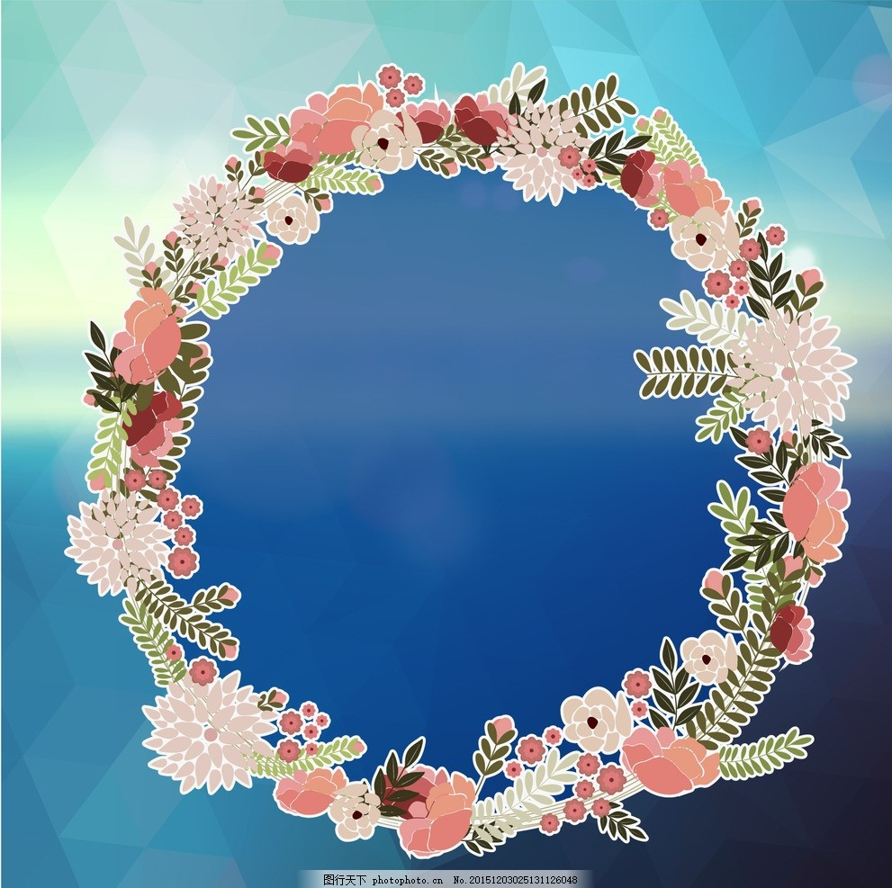 蓝色花环镜子 花圈 时尚花环 时尚花圈 花卉 花朵 花瓣 蓝色镜子