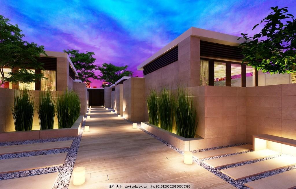 庭院设计 庭院夜景 枯山水 日式庭院 庭院别墅