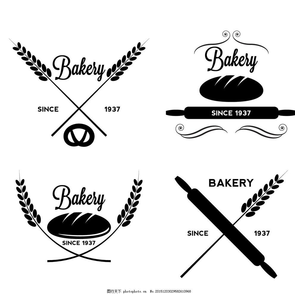 标签 贴纸 飘带 ribbon 面包 食物 食品 小麦 麦穗 黑色 黑白 汉堡包
