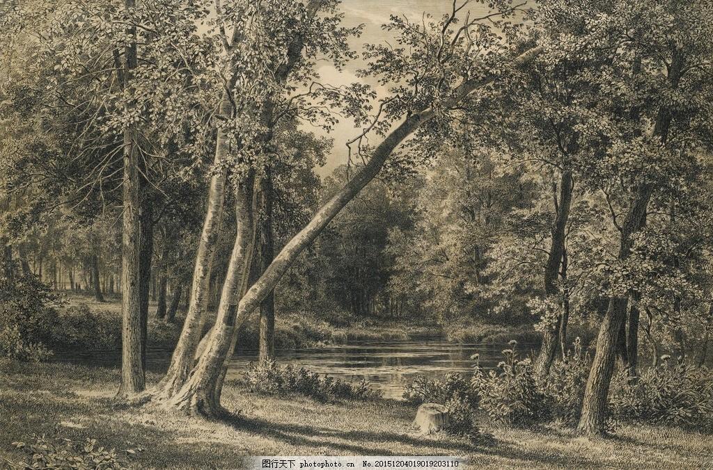 树木 素描 风景画 素描风景 风景素描 速写 素描欣赏 素描艺术 铅笔画