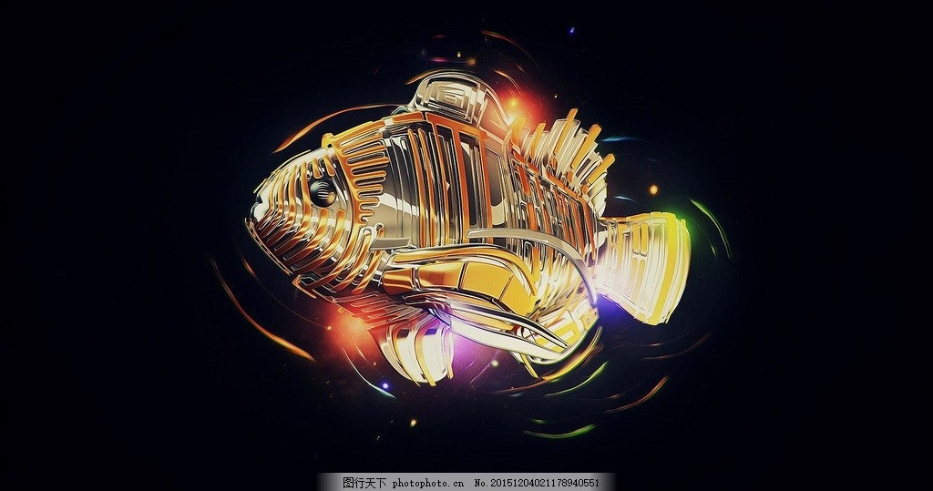 鱼 海洋动物 机械鱼 抽象鱼 鱼背景 设计 生物世界 野生动物 3d设计 3