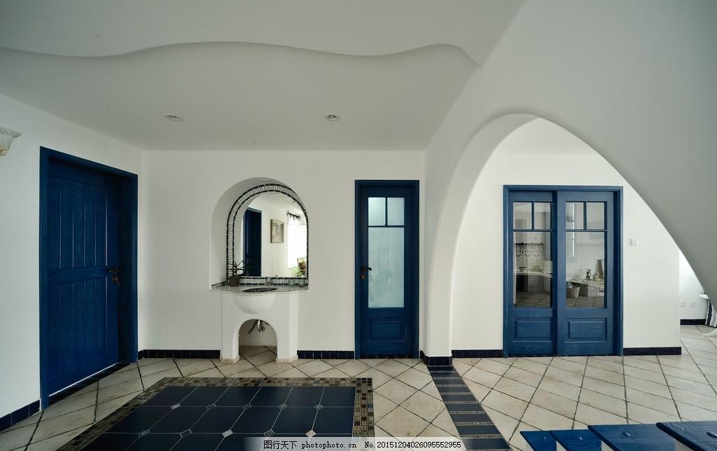 地中海风格 地中海家具 阶梯 绿化 室内 地中海装修 摄影 家居生活