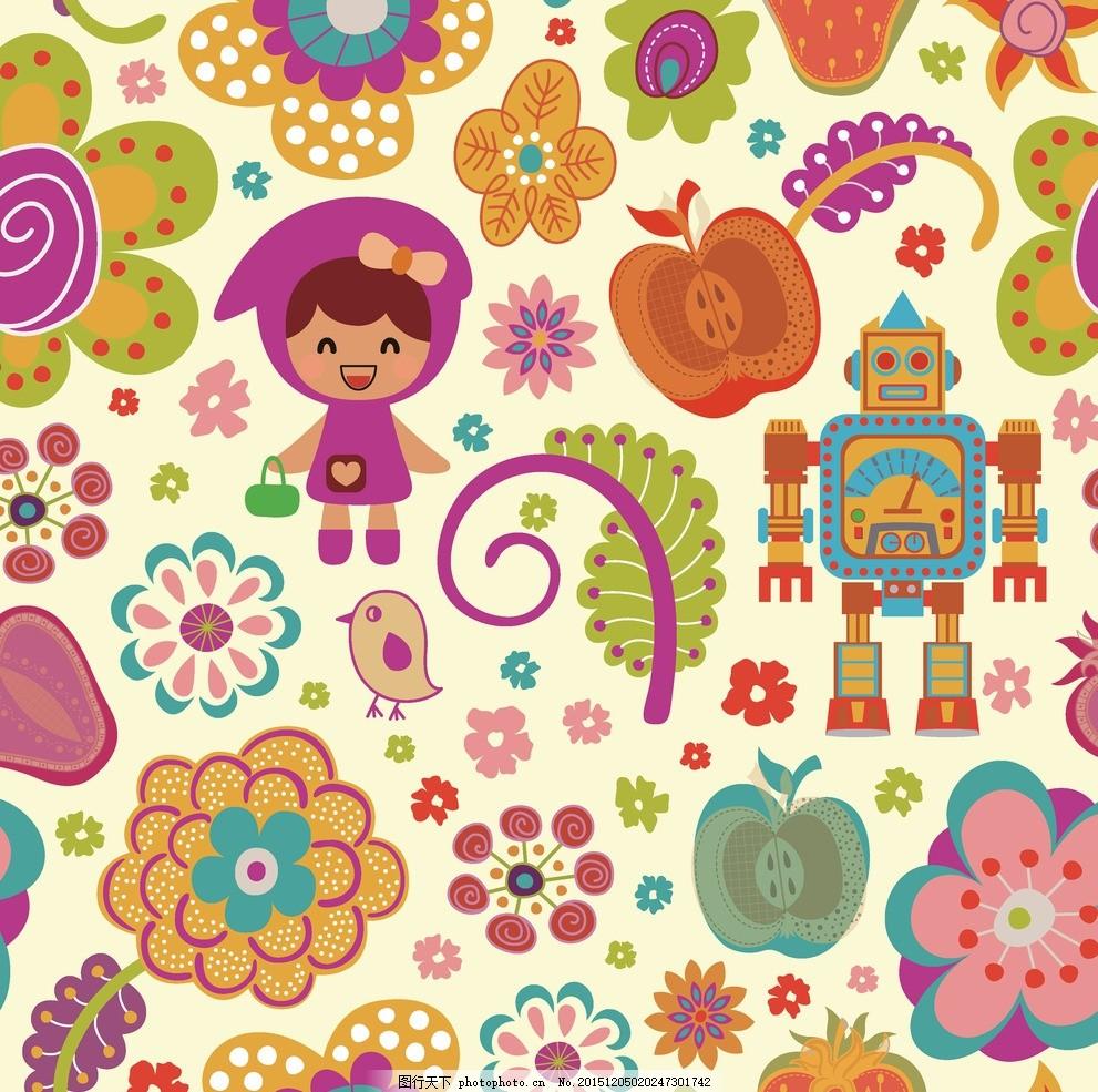 包装纸 卡通动物 小动物 彩虹 卡通印花 印花 太阳 绿叶 墙贴 碎花