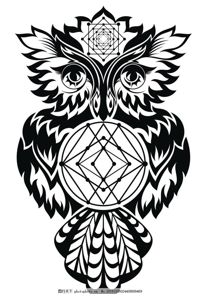 黑白剪影 矢量素材图案 猫头鹰 矢量线稿动物