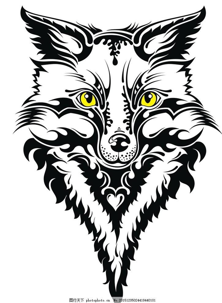 黑白剪影 矢量素材 图案 狼 矢量线稿动物