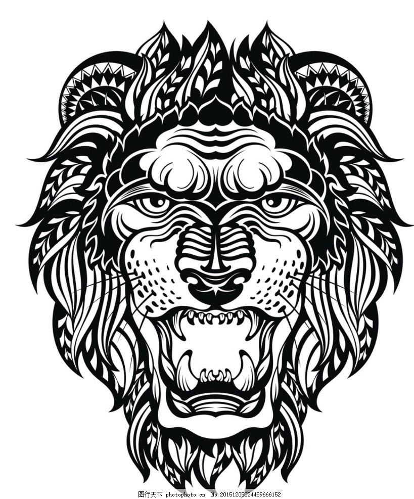 黑白剪影 矢量素材 图案 狮子 矢量线稿动物