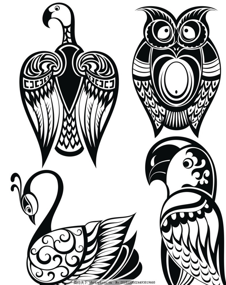 黑白剪影 矢量素材 图案 鸟类 矢量线稿动物