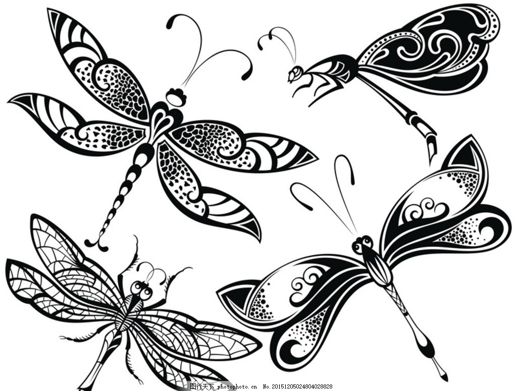 黑白剪影 矢量素材 图案 蜻蜓,矢量线稿动物-图行天下