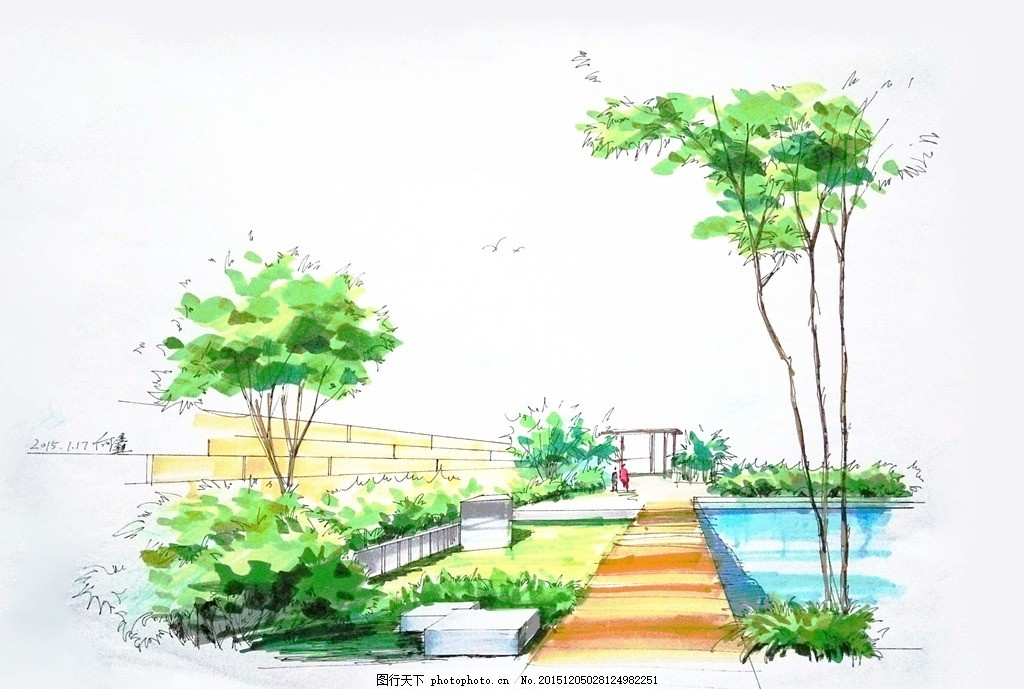 手绘临摹 风景 手绘 马克笔 针管笔 环境设计 景观设计 设计 环境设计