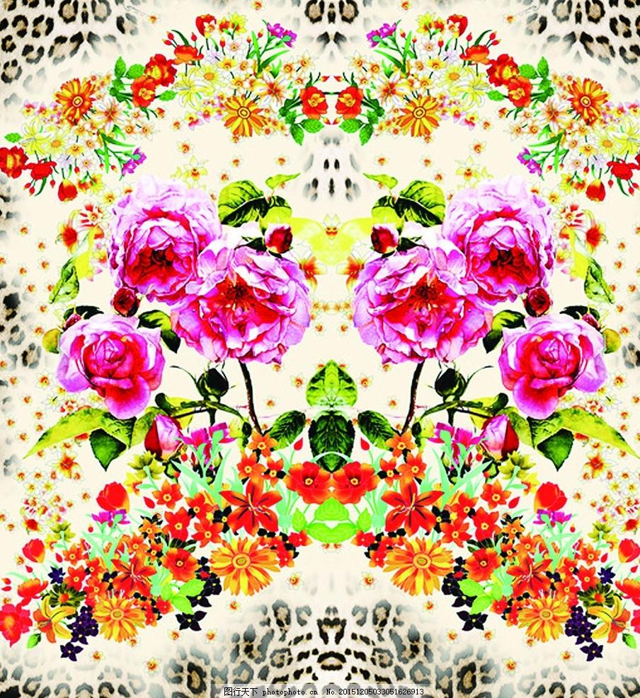 玫瑰 粉色花朵 数码印花 红色花朵 花朵背景 立体花朵 花卉