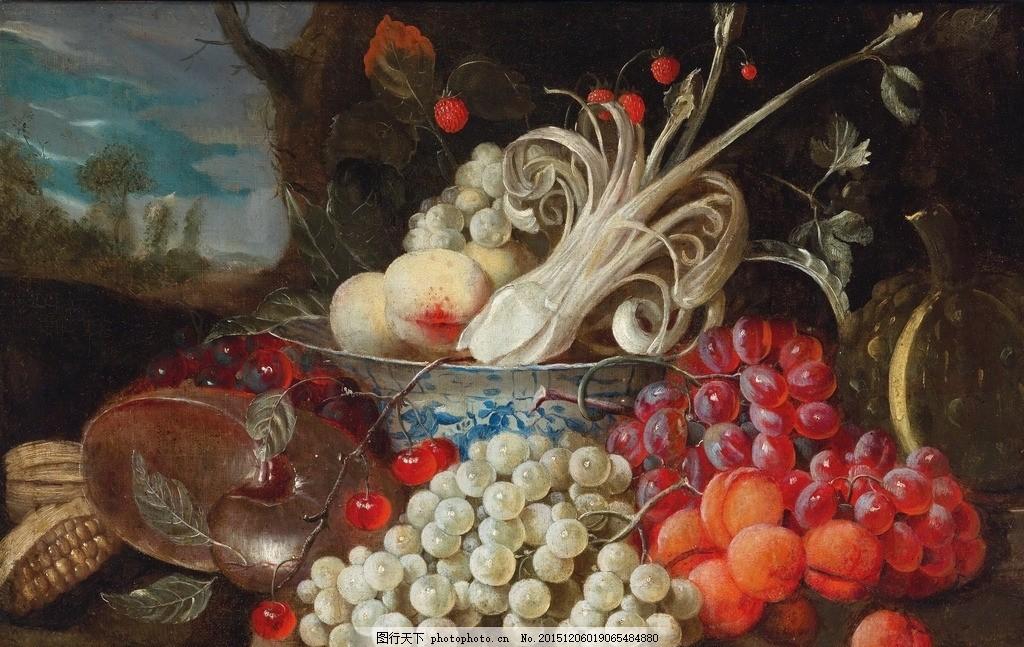 静物油画 水果系列 桃子 树莓 樱桃 玉米 葡萄 海螺 甜瓜 古典油画
