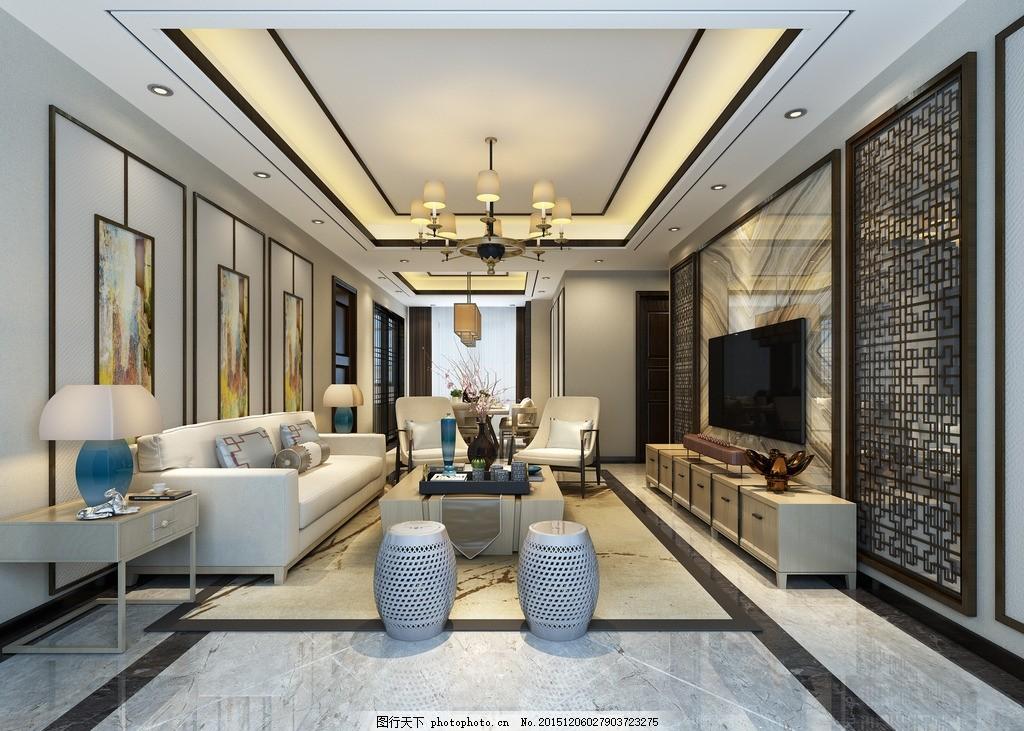银河港 新中式客厅        客厅吊顶 背景墙效果图 设计 环境图片