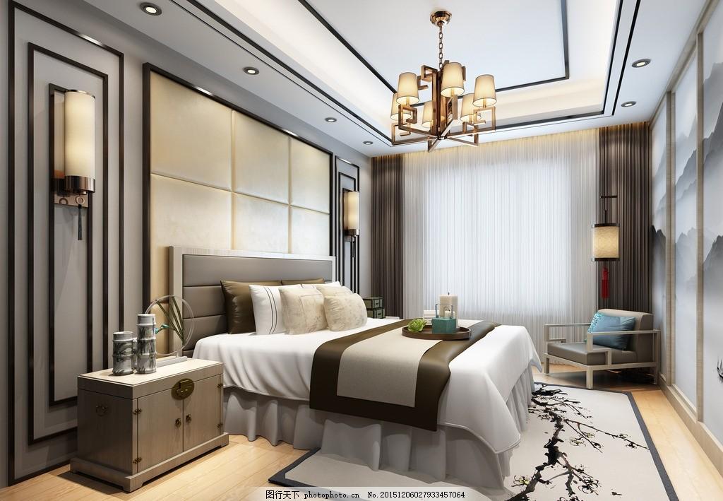 新中式卧室 卧室吊顶 主卧背景墙 卧室吊灯 设计 环境设计 室内设计
