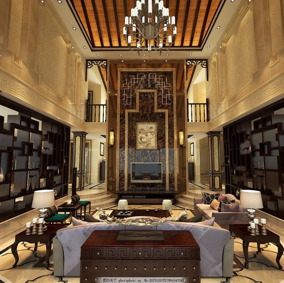 中式客厅效果图 室内设计        中式      坡屋顶 设计 环境设计