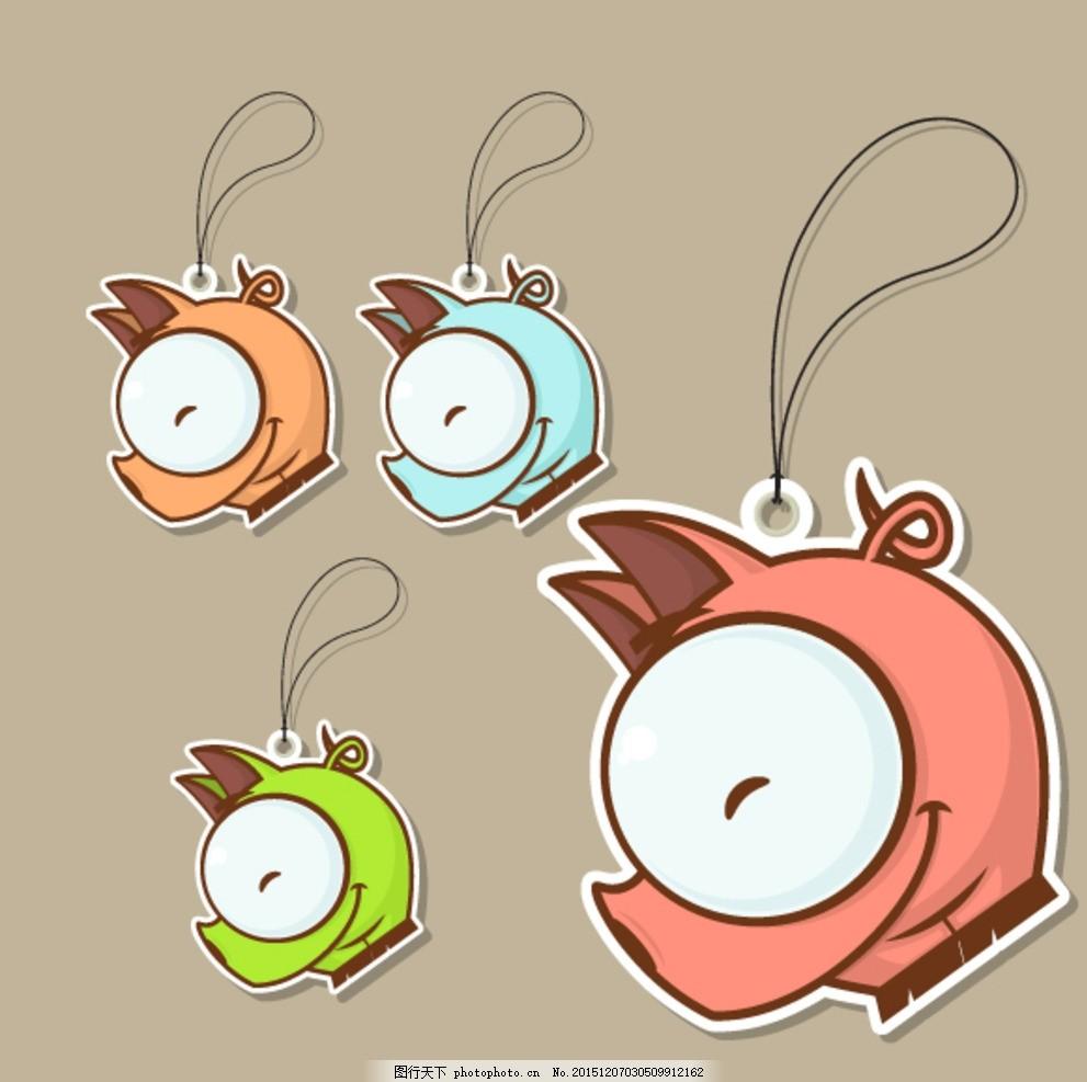 可爱卡通标签 海马 挂 大眼睛