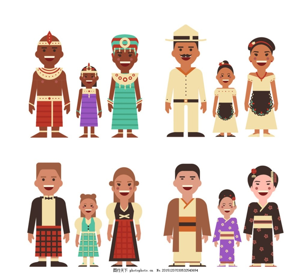 民族 民族服饰 家 家庭 人物 男子 女子 孩子 设计 广告设计 卡通设计