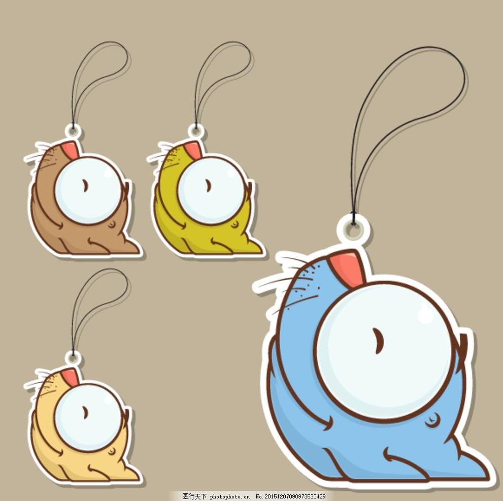 可爱卡通标签 老鼠 挂 大眼睛 广告设计 卡通设计