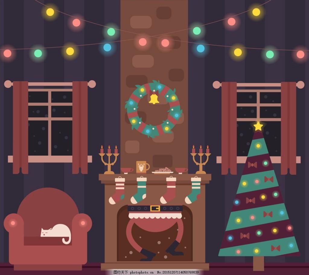 创意圣诞节客厅装饰 创意 圣诞节      彩灯 灯串 窗户 窗帘 花环