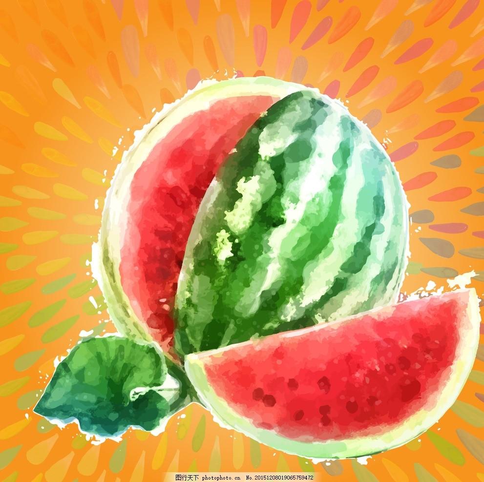 水彩西瓜 水彩 西瓜 大西瓜 西瓜角 水彩画 水粉画 西瓜插画 插画