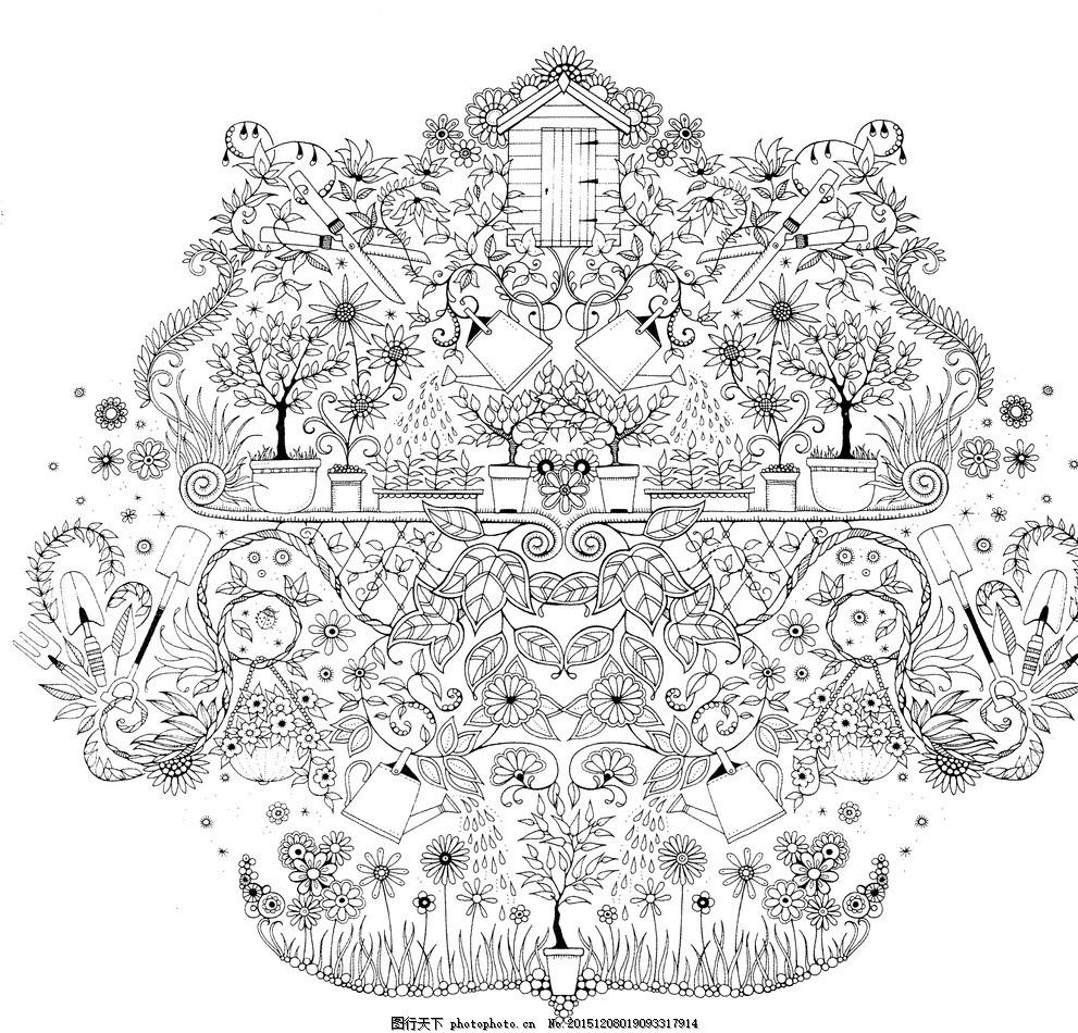 手绘本 秘密花园 动植物图 素描图 秘密 黑白 设计 文化艺术 绘画书法