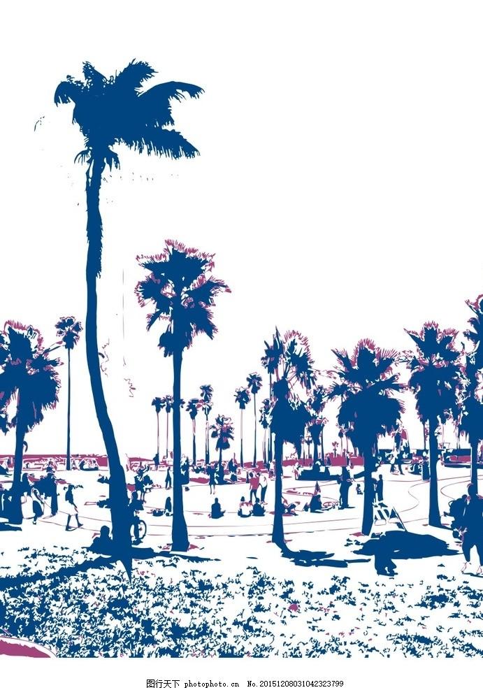 素描图 沙滩 树叶 海边 风景图 矢量 cdr 分层 背景图案 素描 设计