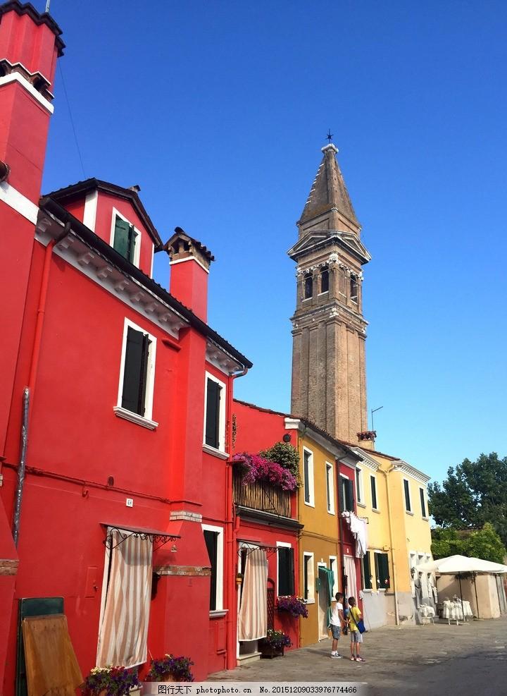国外建筑 房屋 房子 欧洲 欧式 威尼斯 塔楼 红房子 彩虹岛