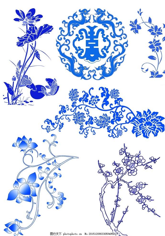 青花瓷背景素材 青花瓷 边框 素材 花纹 青色 背景素材 设计 psd分层