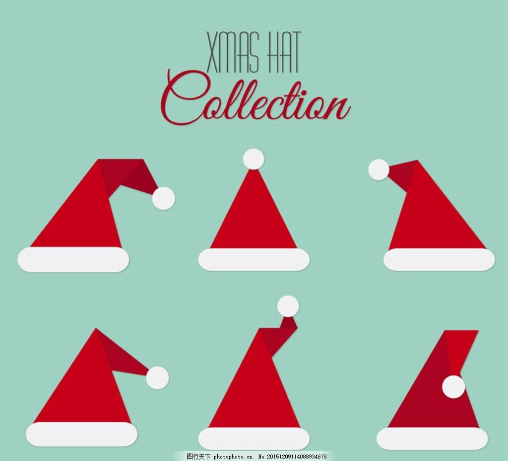 红色圣诞帽 圣诞帽背景 折纸 红色帽子背景 童趣圣诞帽 卡通圣诞帽