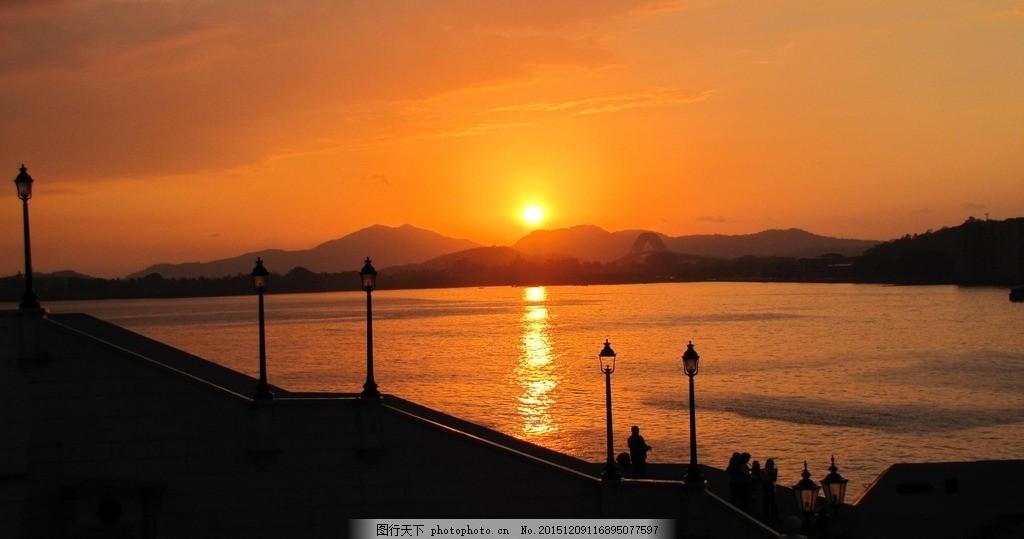 湖边夕阳西下 黄昏 傍晚 调养 日落 暖色调 风景 摄影 自然景观