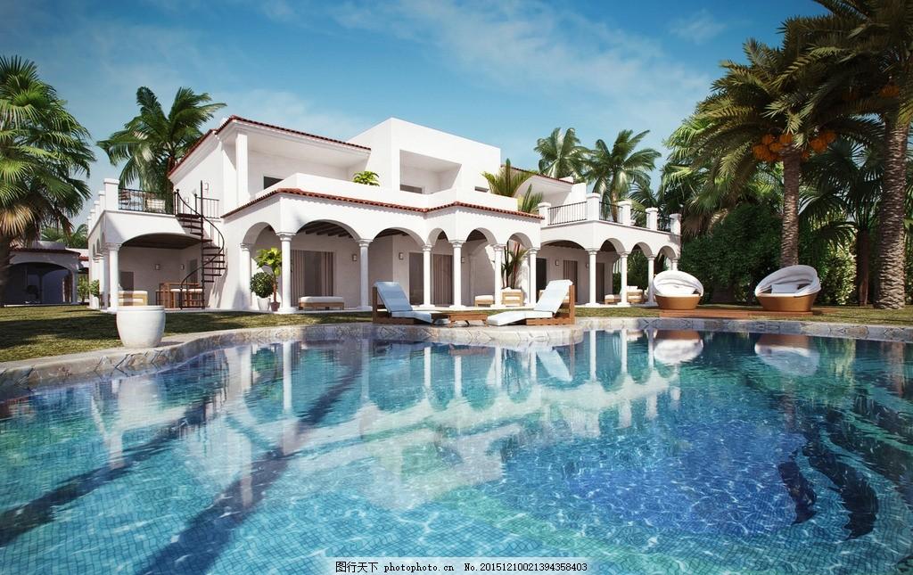 游泳池别墅max模型