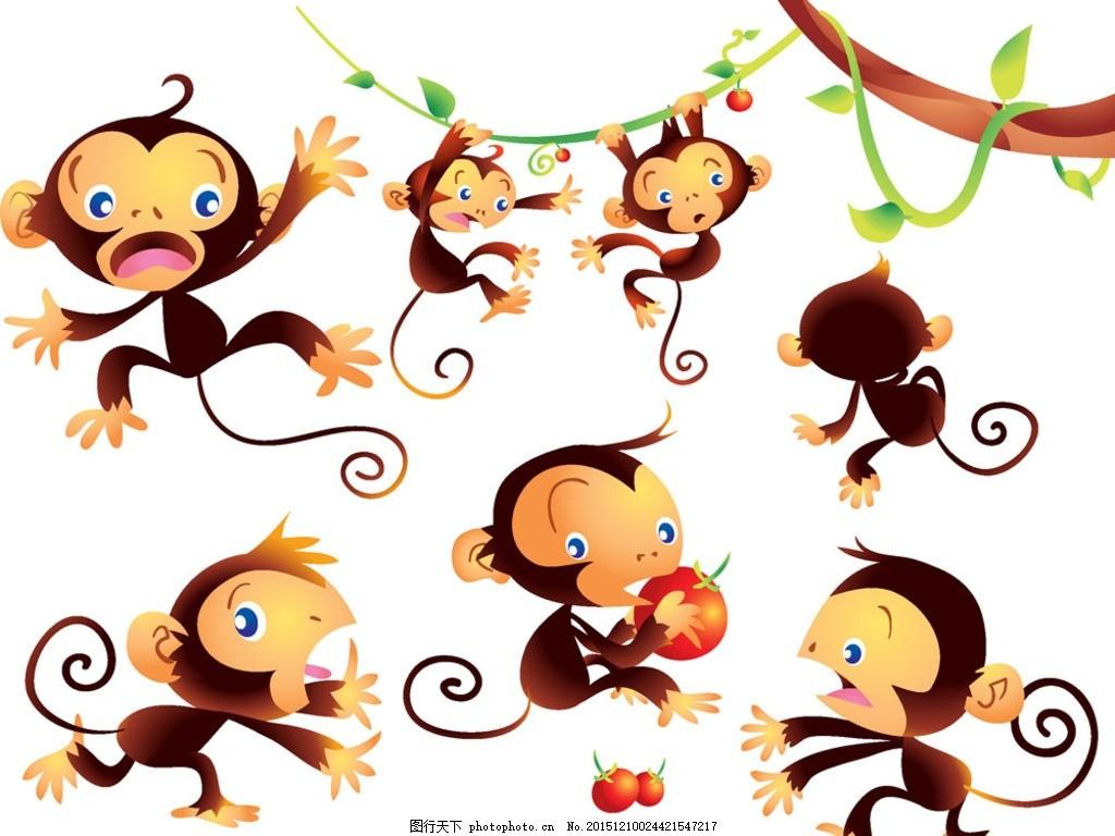 猴子,动物 摘西红柿 水果 树藤 藤蔓 插画 猴年-图行