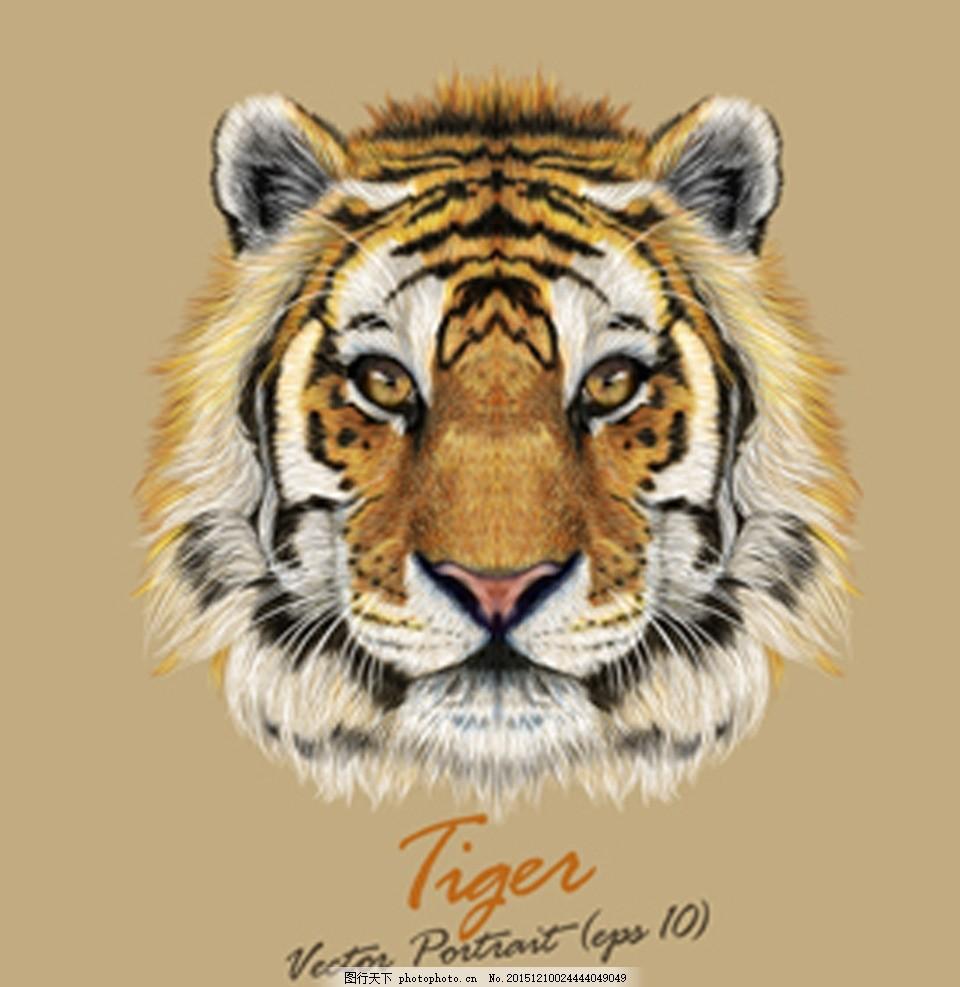 逼真老虎矢量 老虎 逼真 适量 tiger 老虎头 设计 生物世界 野生动物