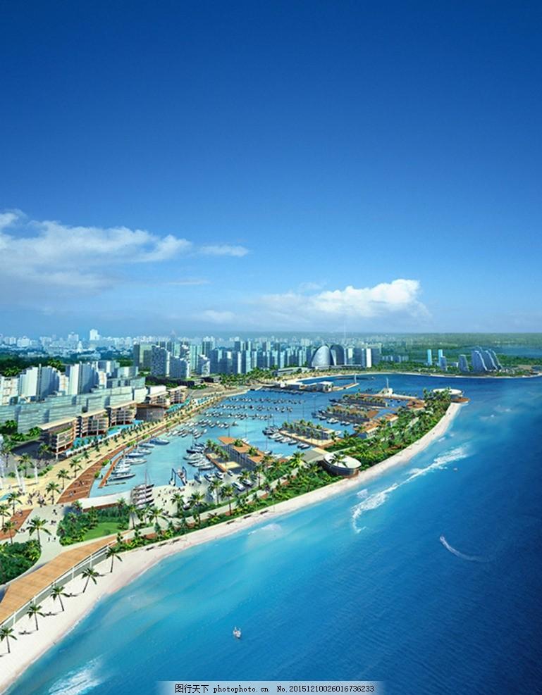 海边城市,海滨城市鸟瞰 城市鸟瞰图 高清 美丽 风景