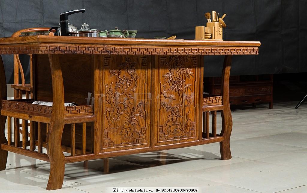 罗马茶桌 花梨木 高端茶桌 家具摄影 黑色背景 茶道文化 家居生活
