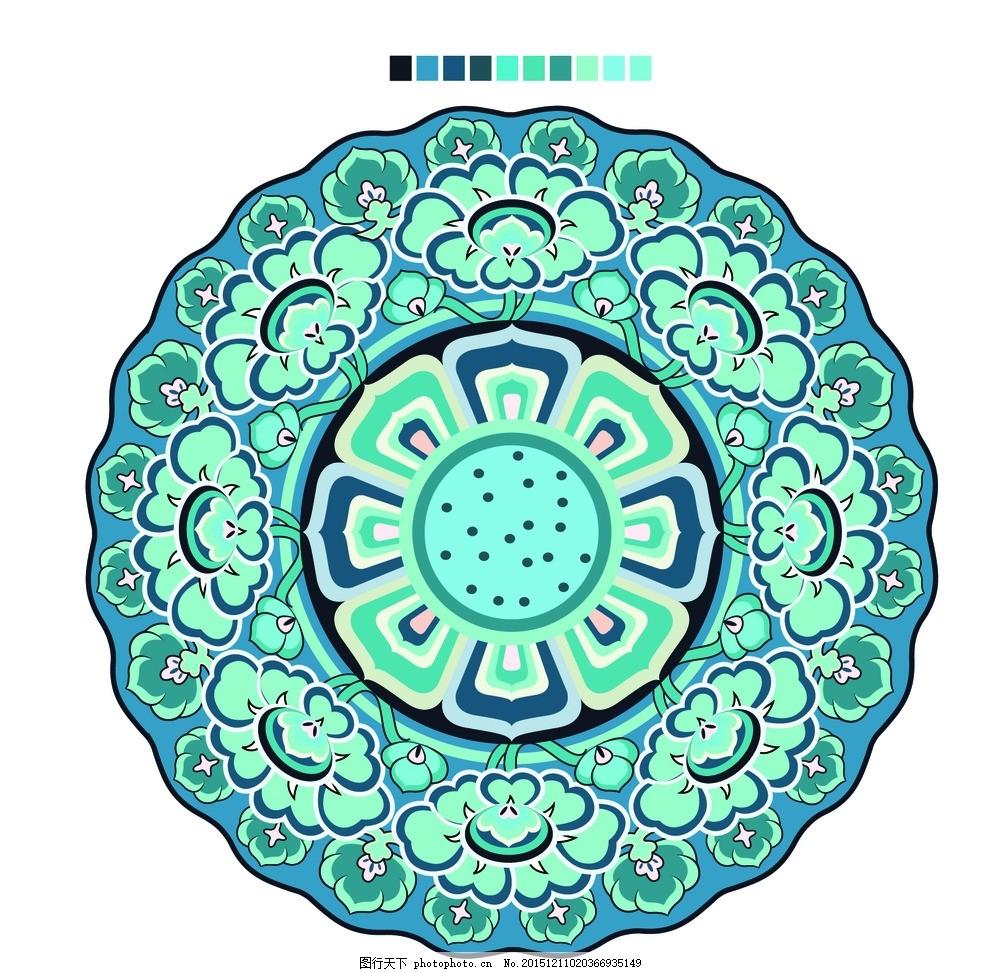 典雅蓝色圆盘 欧式 瓷盘 花纹 圆形图案 花朵 花卉矢量图 矢量图案
