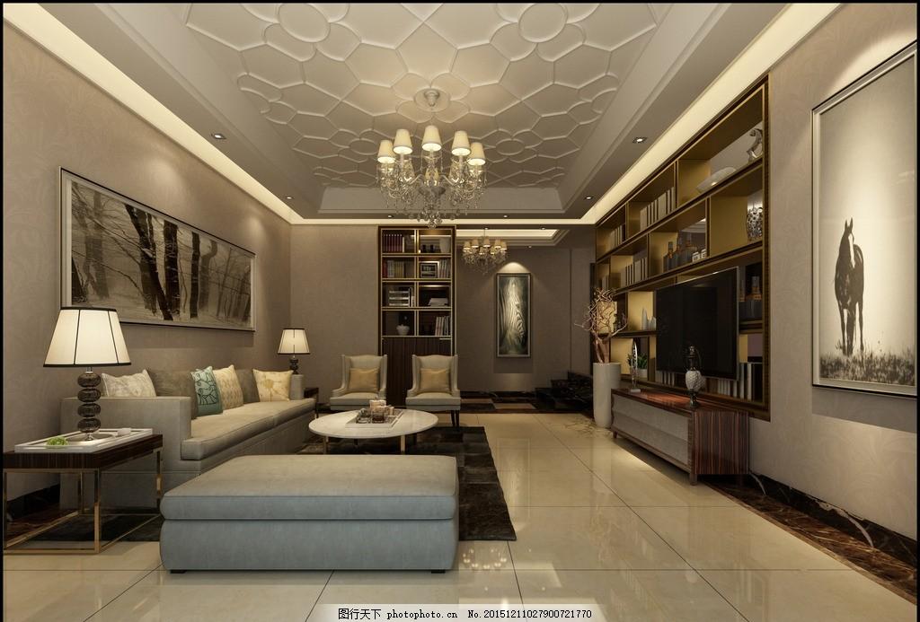 现代奢华风格 客厅效果图      背景墙        家装效果图 线条吊顶