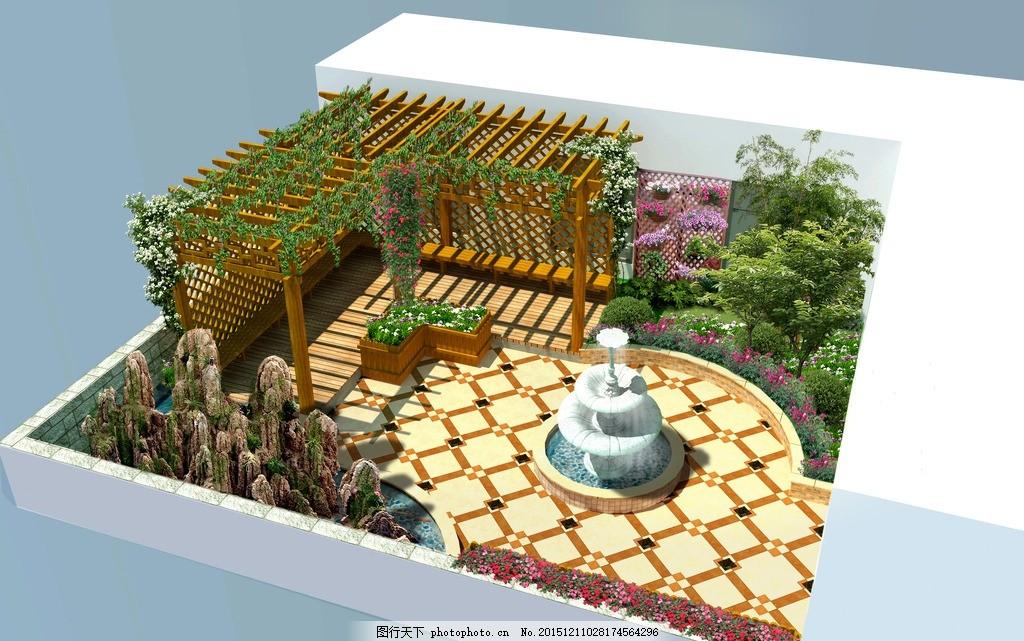 楼顶花园 露台设计,效果图 园林景观-图行天下图库