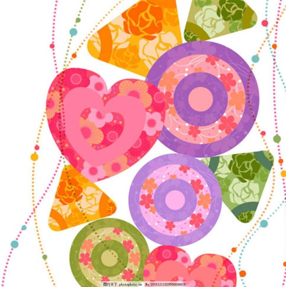 爱心 花朵 矢量花 幼儿园贴图 手绘树木 卡通 花纹 装饰 树木贴图
