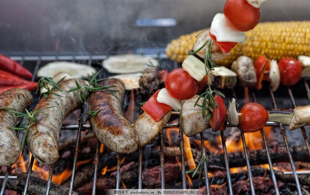 野餐烧烤 户外烧烤 野炊 烤肠 烤玉米 烤肉 美食 度假 摄影