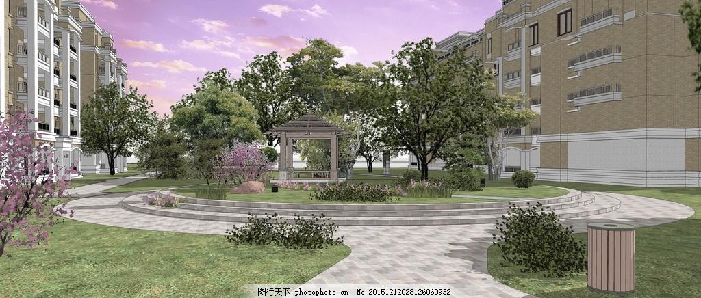 小区效果图 亭子 景观 广场植物 道路