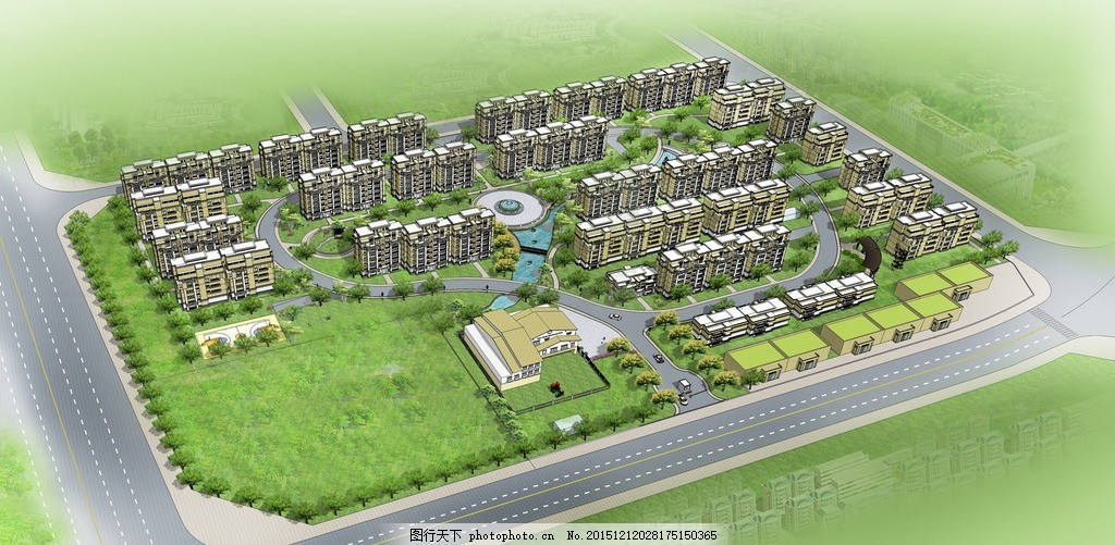 小区鸟瞰图 绿地 小区 城市道路 鸟瞰 景观 设计 su 设计 环境设计