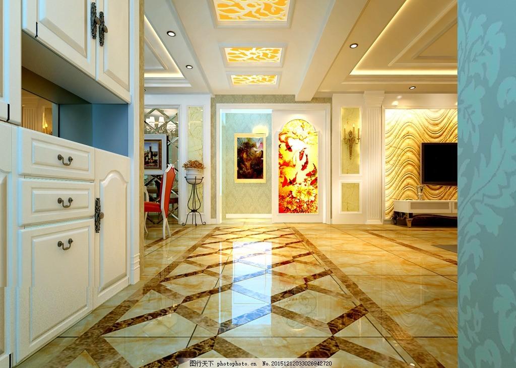 过道效果图 客厅效果图 电视背景墙 走廊模型 地面拼花 走廊拼花